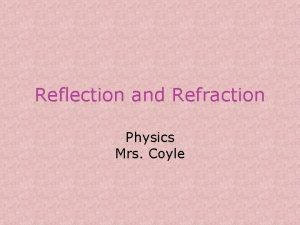 Reflection and Refraction Physics Mrs Coyle Reflection When