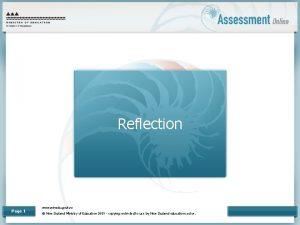 Reflection Page 1 www minedu govt nz New