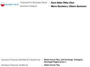 Proposed NU Business Name Roni Akter Pitha Ghor