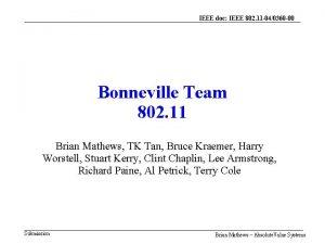 IEEE doc IEEE 802 11 040360 00 Bonneville