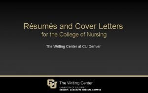 Rsums and Cover Letters for the College of