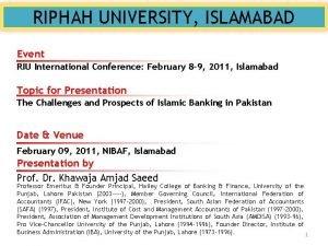 RIPHAH UNIVERSITY ISLAMABAD Event RIU International Conference February