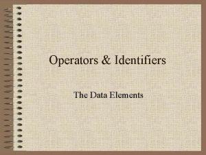 Operators Identifiers The Data Elements Arithmetic Operators exponentiation