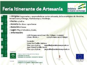Feria Itinerante de Artesana Dirigida Empresarias y emprendedoras