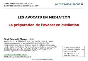IMPULSTAGE MEDIATION 2014 JOURNEES SUISSES de la MEDIATION