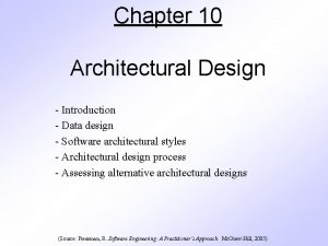 Chapter 10 Architectural Design Introduction Data design Software