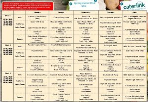 Spring menu 2019 GCC ALLERGY INFORMATION If your