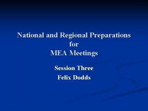 National and Regional Preparations for MEA Meetings Session