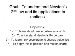 Goal To understand Newtons 2 nd law and