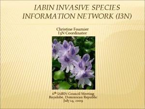 IABIN INVASIVE SPECIES INFORMATION NETWORK I 3 N