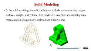 Solid Modeling In the solid modeling the solid