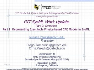 GIT Product System Lifecycle Management PSLM Center www