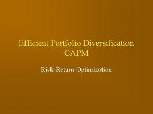Efficient Portfolio Diversification CAPM RiskReturn Optimization Portfolio Goal