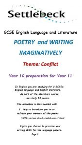 GCSE English Language and Literature POETRY and WRITING