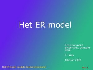 Het ER model Een powerpoint presentatie gemaakt door