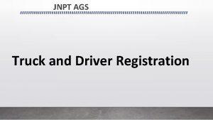 JNPT AGS Truck and Driver Registration Registration Link