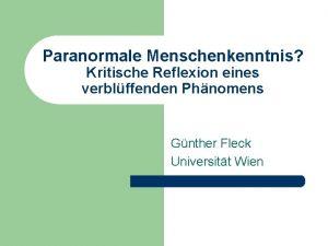 Paranormale Menschenkenntnis Kritische Reflexion eines verblffenden Phnomens Gnther