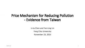 Price Mechanism for Reducing Pollution Evidence from Taiwan