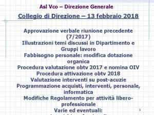 Asl Vco Direzione Generale Collegio di Direzione 13