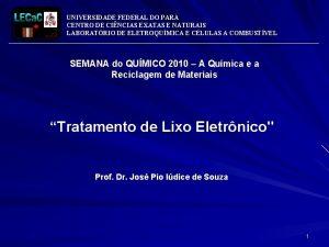 UNIVERSIDADE FEDERAL DO PAR CENTRO DE CINCIAS EXATAS