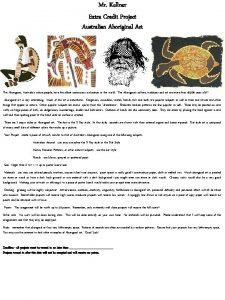 Mr Kellner Extra Credit Project Australian Aboriginal Art