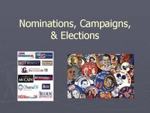 Nominations Campaigns Elections Elections Elections are the process