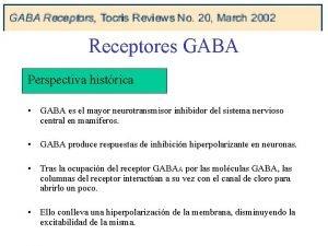 Receptores GABA Perspectiva histrica GABA es el mayor
