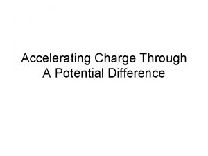 Accelerating Charge Through A Potential Difference Difference in