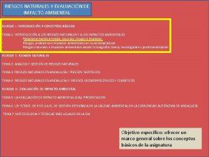 RIESGOS NATURALES Y EVALUACIN DE IMPACTO AMBIENTAL BLOQUE
