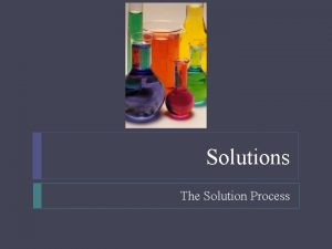 Solutions The Solution Process Solutions Objectives List and