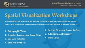 Spatial Visualization Workshops Spatial visualization is an essential