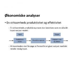 konomiske analyser En virksomheds produktivitet og effektivitet En
