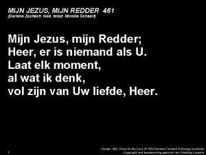 MIJN JEZUS MIJN REDDER 461 Darlene Zschech Ned