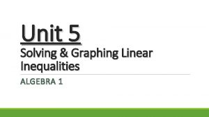 Unit 5 Solving Graphing Linear Inequalities ALGEBRA 1