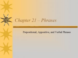 Chapter 21 Phrases Prepositional Appositive and Verbal Phrases