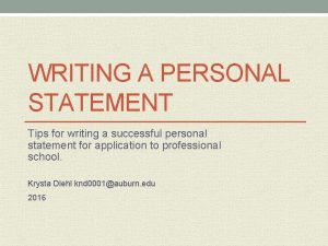 WRITING A PERSONAL STATEMENT Tips for writing a