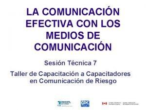 LA COMUNICACIN EFECTIVA CON LOS MEDIOS DE COMUNICACIN