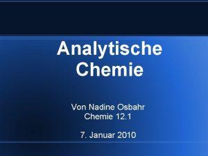 Analytische Chemie Von Nadine Osbahr Chemie 12 1