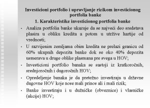 Investicioni portfolio i upravljanje rizikom investicionog portfolia banke