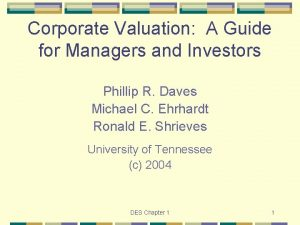 Corporate Valuation A Guide for Managers and Investors