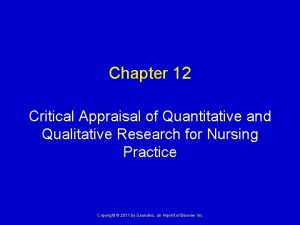 Chapter 12 Critical Appraisal of Quantitative and Qualitative