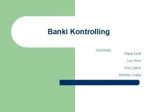 Banki Kontrolling Ksztette Ppai Zsolt Lex kos Kiss