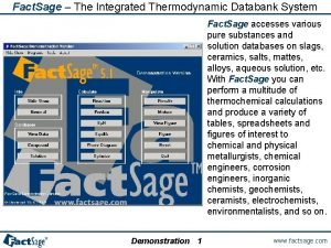 Fact Sage The Integrated Thermodynamic Databank System Fact