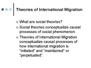 Theories of International Migration What are social theories