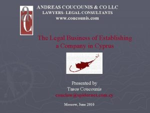 ANDREAS COUCOUNIS CO LLC LAWYERS LEGAL CONSULTANTS www