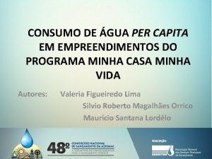 CONSUMO DE GUA PER CAPITA EM EMPREENDIMENTOS DO