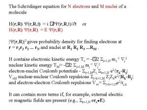 The Schrdinger equation for N electrons and M