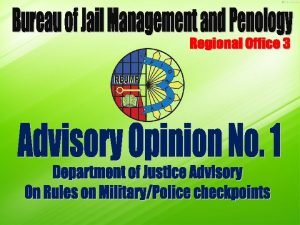 Advisory Opinion No 1 Department of Justice Advisory