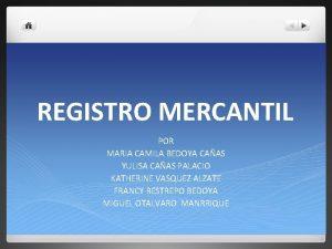 REGISTRO MERCANTIL POR MARIA CAMILA BEDOYA CAAS YULISA