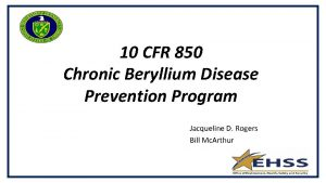 10 CFR 850 Chronic Beryllium Disease Prevention Program